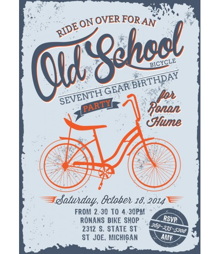 Bike Old School Vintage Bicycle Birthday Party Printable Invitation