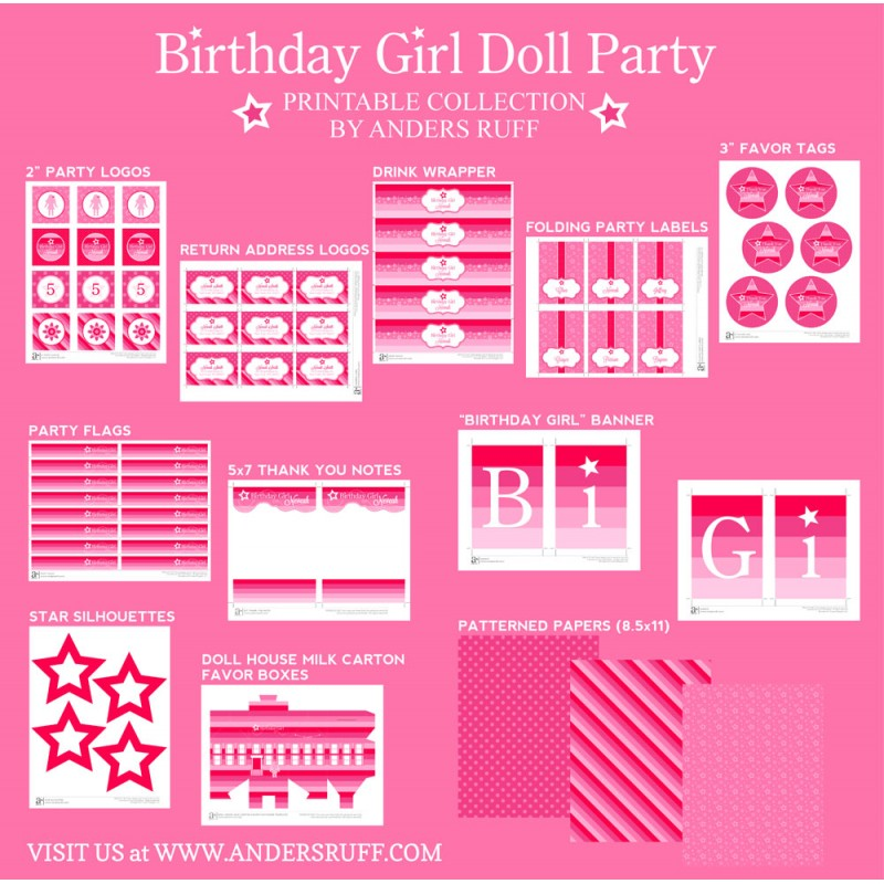 Birthday Girl Doll Party Printables Collection