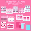 Birthday Girl Doll Birthday Party Printables Collection - Pink, Red & Light Blue