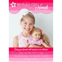 Birthday Girl Doll Party Printable Birthday Party Photo Invitation