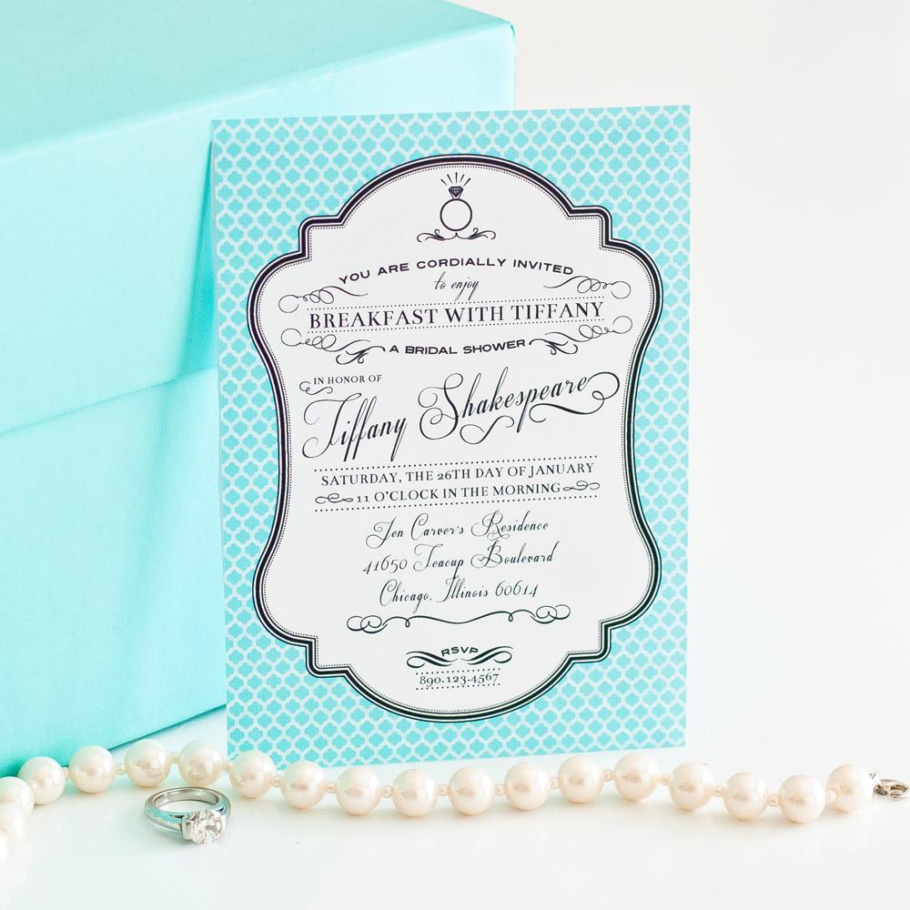 breakfast at tiffanys inspired printable invitation bridal shower