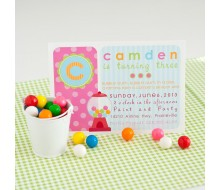 Bubble Gumball Girl Birthday Party Invitation - Pink, Blue