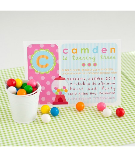 Bubble gumball girl birthday party invitation pink blue filmwisefo