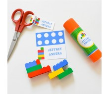 Building Brick Label Set - Boy Colorway - Customizable - Instant Download