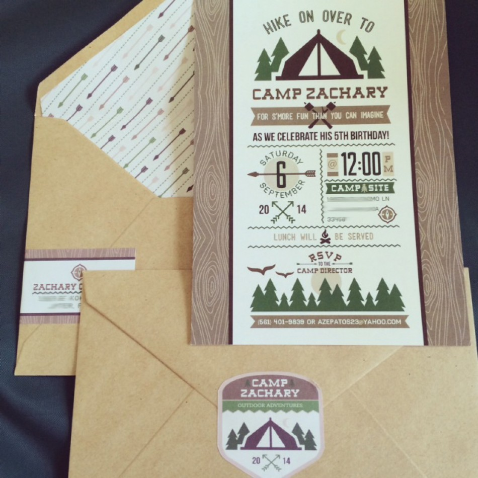 Outdoor Adventure Camping Birthday Party Printable Invitation