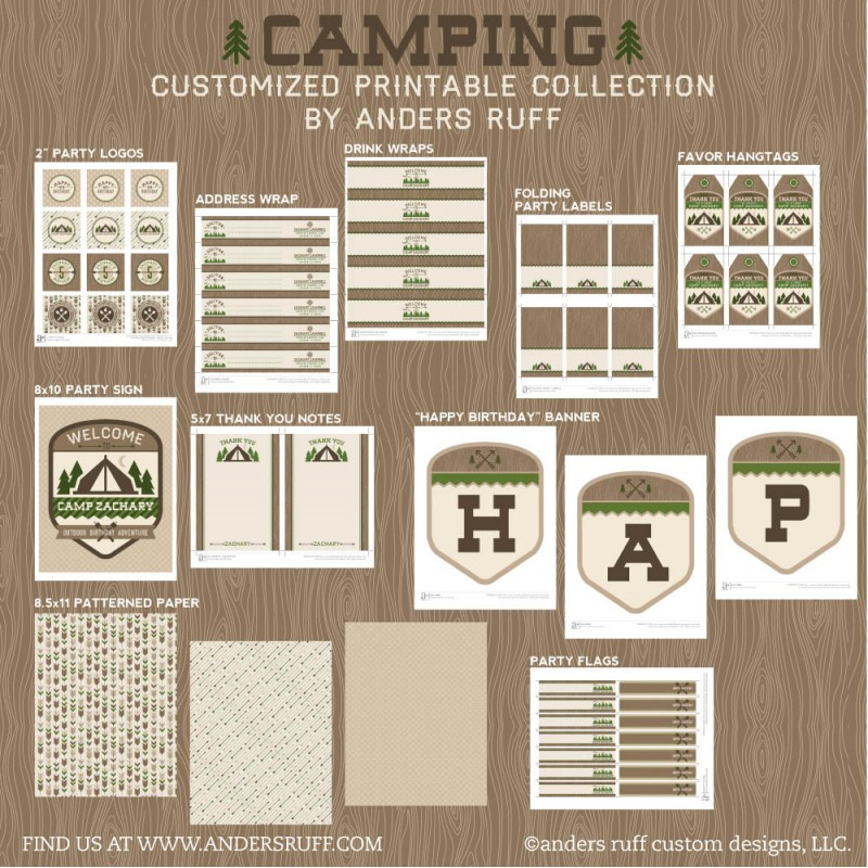 Outdoor Adventure Camping Birthday Party Printable Collection
