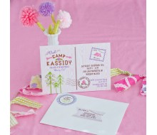 Glam Camping Glamping Girl Birthday Party Printable Invitation