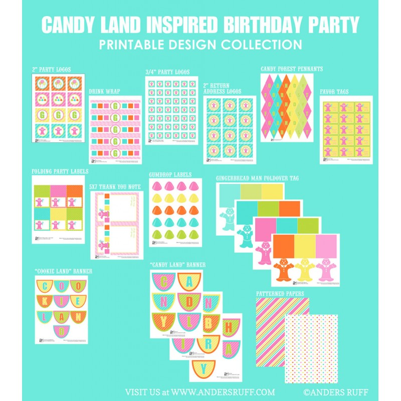 image regarding Printable Candyland Cards named Sweet Land Encouraged Birthday Occasion Printables Assortment