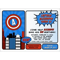Super Hero Captain Printable Invitation