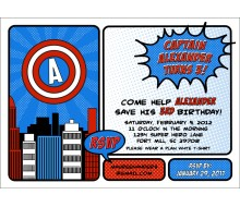 Super Hero Red White and Blue Printable Invitation
