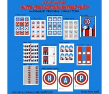 Super Hero Red White and Blue Printable Collection