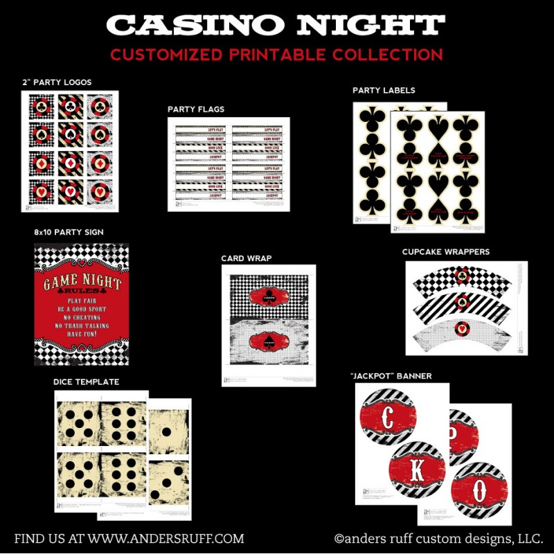 Night Poker Party Printable Collection - Instant Download