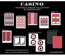 Casino Poker Vegas Birthday Party Printables Collection - Red