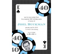 Casino Poker Vegas Birthday Party Printable Invitation - Blue