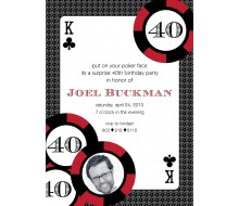 Casino Poker Vegas Birthday Party Printable Invitation - Red