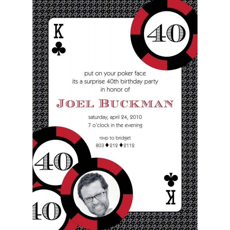 Casino Poker Vegas Birthday Party Printable Invitation Red