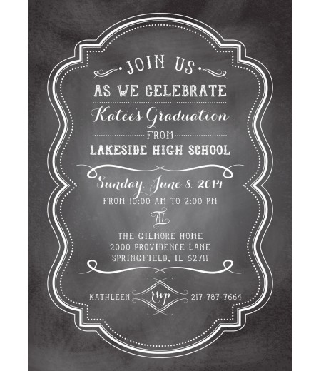 Chalkboard Graduation Party Printable Invitation