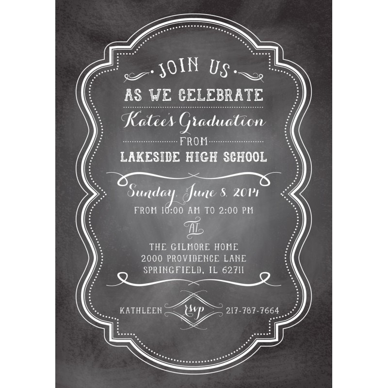 Graduation Party Printable Invitation – Chalkboard Invitation