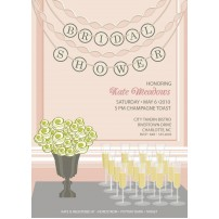 Champagne Flowers Bouquet Bridal Shower Printable Invitation