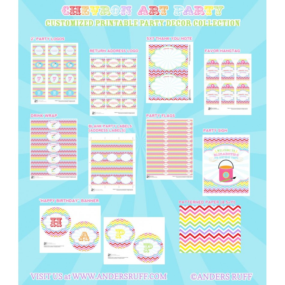 Chevron Arts and Crafts Party Printables Collection
