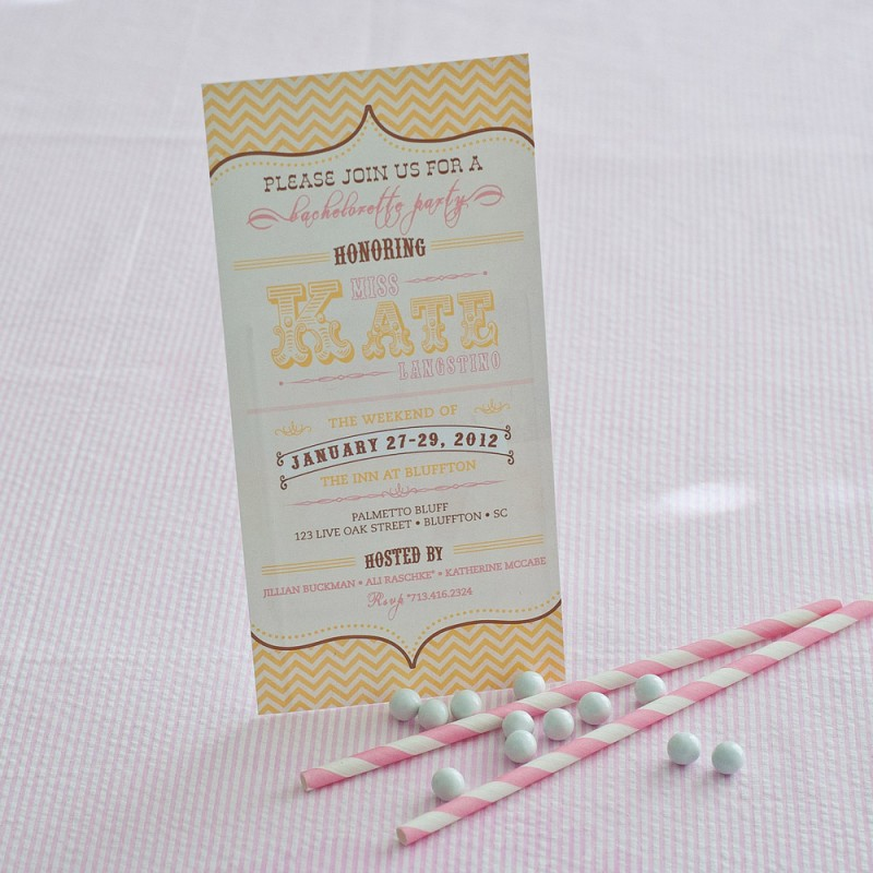 Vintage Pink and Gold Chevron Bridal Shower or Bachelorette Party ...