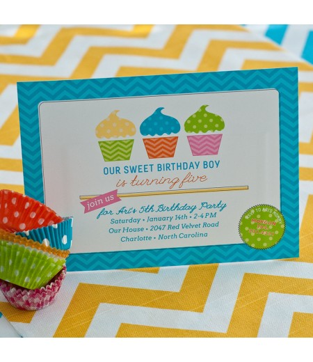 Chevron Cupcake Birthday Party Printable Invitation - Blue