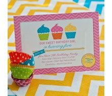 Chevron Cupcake Birthday Party Printable Invitation - Pink