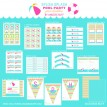 Chevron Splish Splash Pool Party Birthday Party Printables Collection