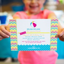 Chevron Pool or Beach Birthday Party Printable Invitation