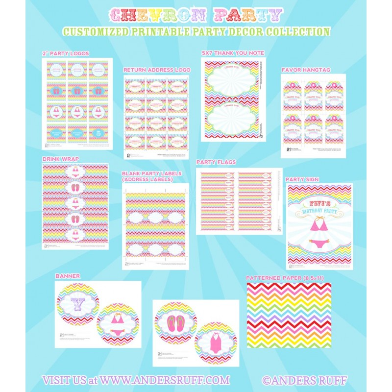graphic regarding Pool Party Printable identify Chevron Rainbow Pool Get together Printables Choice