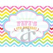 Chevron Rainbow Birthday Party Printable Customized Placemat