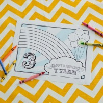 Chevron Rainbow Birthday Party Printable Coloring Page Placemat