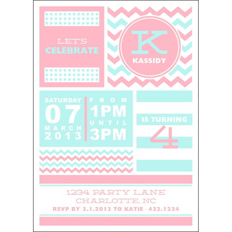 Stripes and Polka Dots Printable Party Invitation - Choose Your Colors