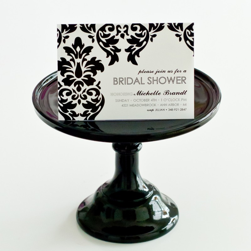 dfa309ce52f77 Chic Vintage Damask Bridal Shower Printable Invitation - Black and White