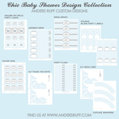 Chic Vintage Damask Baby Shower or Birthday Party Printable Collection - Baby Blue