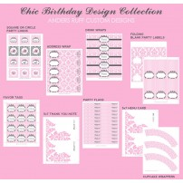 Chic Vintage Damask Baby Shower or Birthday Party Printable Collection - Pink