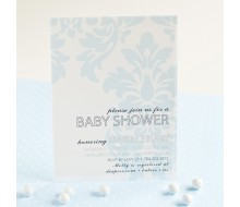 Chic Vintage Damask Baby Shower or Birthday Party Printable Invitation - Baby Blue