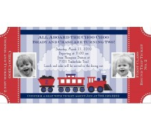 Choo Choo Train Ticket - Birthday Party Printable Invitation - Red Navy