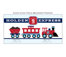 "Choo Choo Train Aqua Red Printable Backdrop Poster - 36"" x 72"""