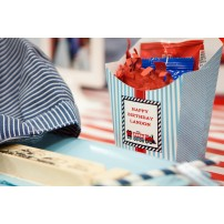 Choo Choo Train Printable French Fry Favor Box - Aqua Red