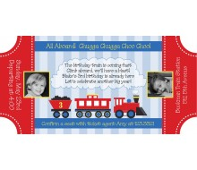 Choo Choo Train Ticket - Birthday Party Printable Invitation - Light Blue, Red and Yellow