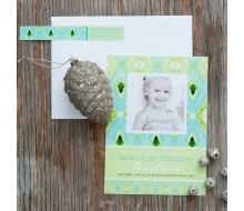 Ikat Christmas Tree - Aqua & Green Printable Photo Holiday Card