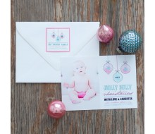 Retro Ornaments - Pink & Aqua Printable Photo Holiday Card