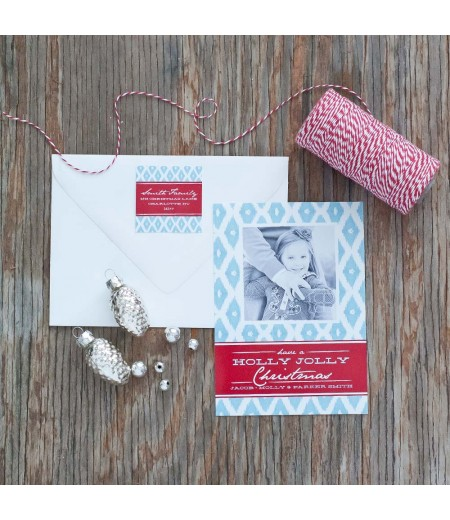 Diamond Ikat Printable Holiday Photo Card - Light Blue and Red