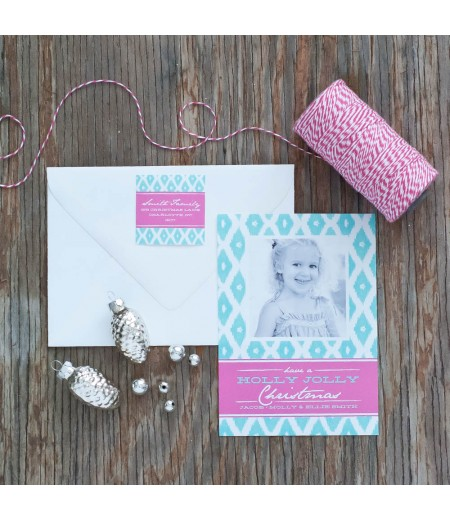 Diamond Ikat Printable Holiday Photo Card - Pink and Aqua