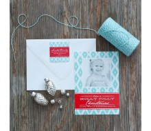 Diamond Ikat Printable Holiday Photo Card - Aqua and Red