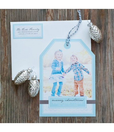 Holiday Photo Hangtag Printable Card - Grey Chevron with Aqua - Signature Design