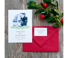 Faux Bois Wood Grain and Garland Printable Holiday Photo Card