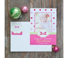 Polka Dot Printable Holiday Photo Card - Pink and Lime