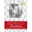 Diamond Ikat Holly Printable Holiday Photo Card - Grey and Red